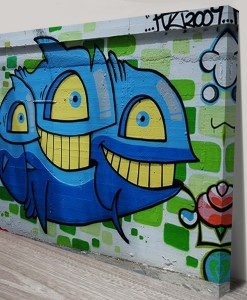 Aqua-Monster-Graffiti-Street Art Canvas Print