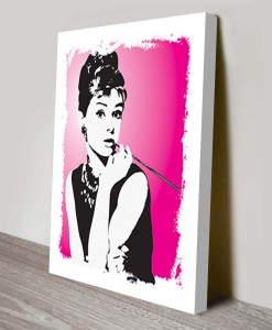 Audrey-Hepburn-Pink-Pop Art Canvas Print