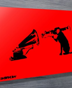 Banksy-Dog-red-canvas
