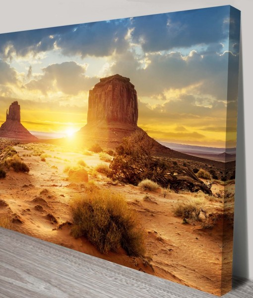 Desert-Sunset Landscape Art Canvas Print