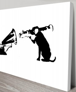 HMV Dog Missile White Banksy Canvas Print