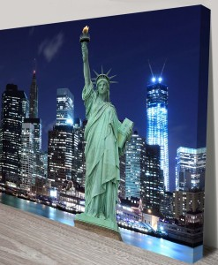 New York Statue of Liberty Cityscape Art Canvas Print