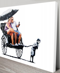 Rickshaw Kid Banksy Art Canvas Print