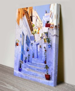 Streets-of-Morrocco Citiscape Art Canvas Print