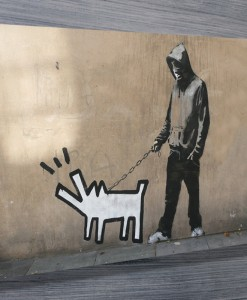 dog walker banksy art