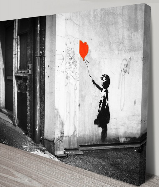 Balloon Girl Black and White Banksy Art