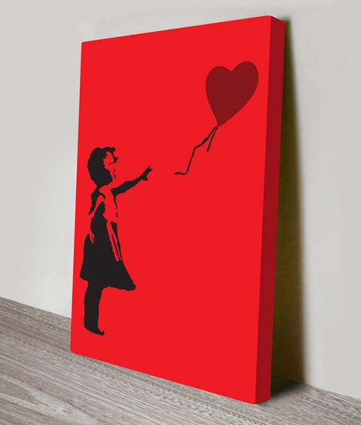 Balloon Girl Red Banksy Art