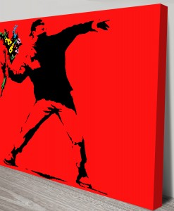 Flower Thrower Red Banksy Art