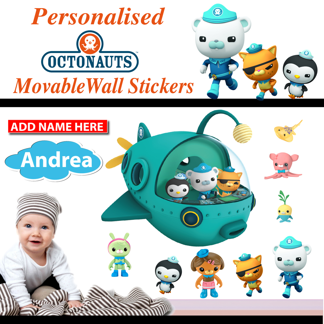 removable personalized octonauts wall sticker athletic wall decals amp wall stickers zazzle