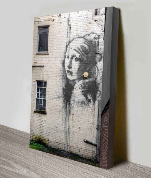Lady on the Wall Banksy Canvas Print