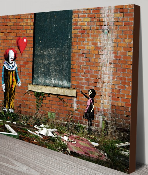 Balloon Girl vs IT Banksy Art Stretched Canvas